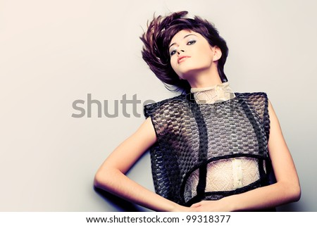 Portrait of a female model, fashion shot. - stock photo