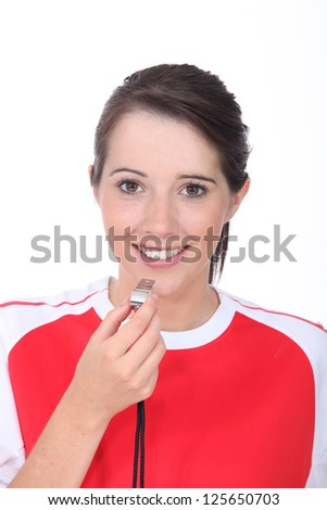 portrait of a female referee - stock photo
