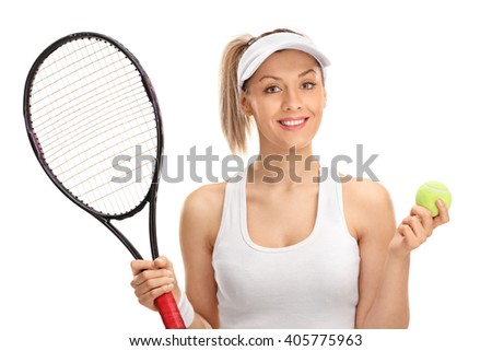 Portrait of a female tennis player holding a racket and a ball isolated on white background - stock photo