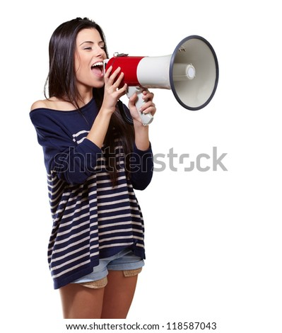 Portrait Of A Female With Megaphone On white Background - stock photo