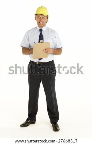 Portrait Of A Foreman Writing On A Clipboard - stock photo