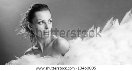 Portrait of a fresh and beautiful young fashion model - stock photo