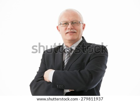 Portrait of a friendly mature businessman on white background - stock photo