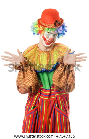 Portrait of a funny clown. Isolated on white - stock photo