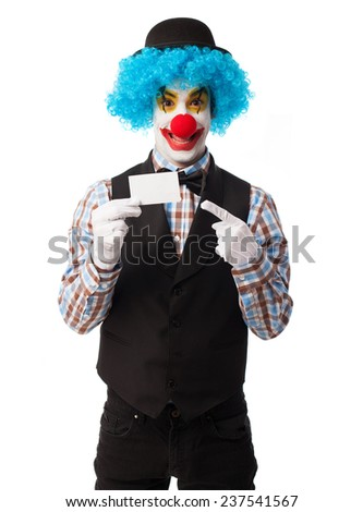 portrait of a funny clown showing a visit card - stock photo