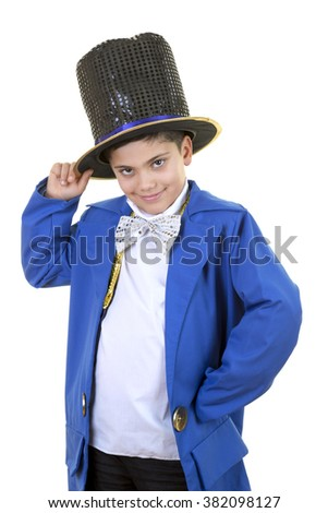 Portrait of a funny little boy in mad hatter costume while saluting against isolated white background. - stock photo