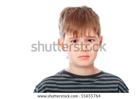Portrait of a funny teenager. Isolated over white background. - stock photo