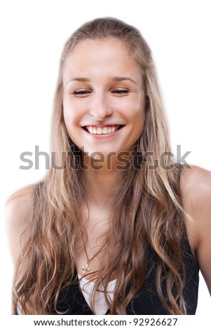 Portrait of a girl her eyes closed with pleasure on a white background - stock photo