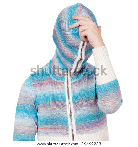 Portrait of a girl in cardigan with a hood with no face - philosopher - stock photo