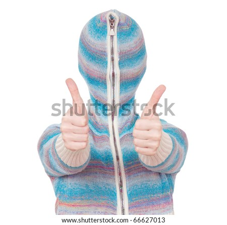 Portrait of a girl in cardigan with a hood with no face. Success. - stock photo