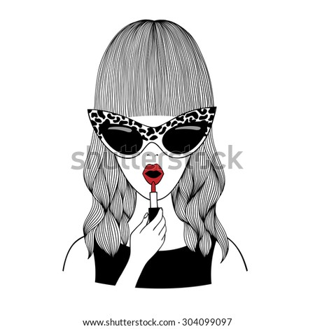 Portrait of a girl in cartoon style on the white background.Beautiful woman wearing sunglasses.Fashion girl image in retro style.Hand drawn illustration. - stock photo