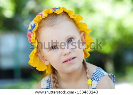 portrait of a girl in panama - stock photo