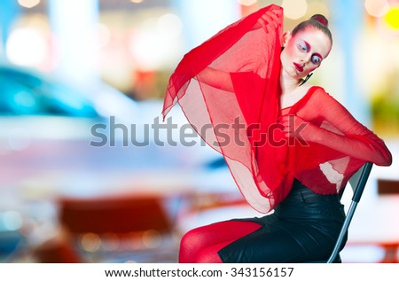 portrait of a girl in the urban background - stock photo