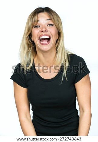 portrait of a girl laughing isolated on white background - stock photo