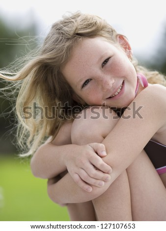Portrait of a girl smiling - stock photo