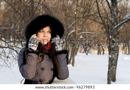 Portrait of a girl walking in park in winter - stock photo