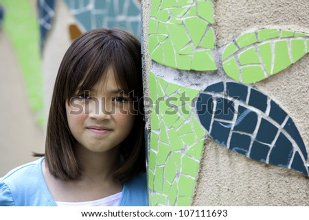 Portrait of a girl with a carefree and pleasant expression. - stock photo