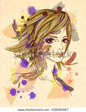 Portrait of a girl with a tattoo. The girl-bird on abstract textured background. Fashion illustration. Print for T-shirt - stock photo