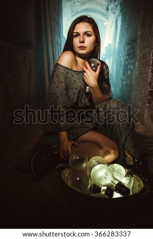 Portrait of a girl with big lamps - stock photo