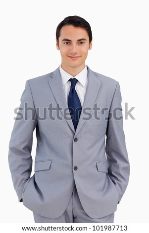 Portrait of a good-looking man against white background - stock photo
