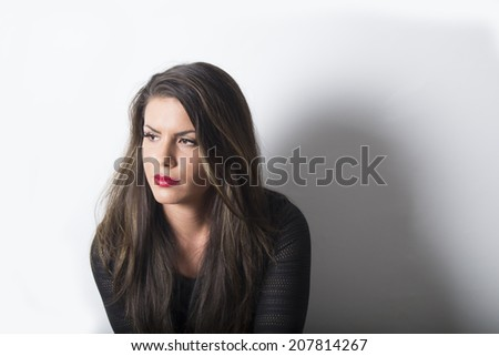 Portrait of a gorgeous woman with long brown hair   - stock photo