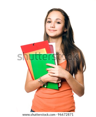 Portrait of a gorgeous young brunette student isolated on white background. - stock photo
