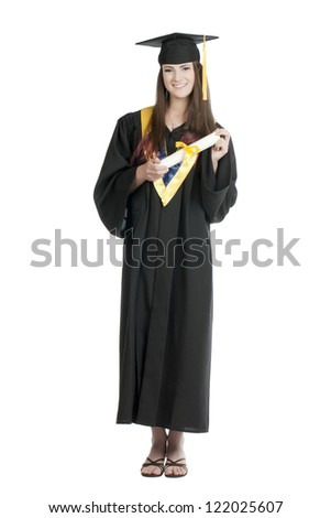 Portrait of a graduating student holding her diploma isolated on a white surface - stock photo