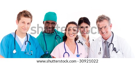 Portrait of a group of doctors - stock photo