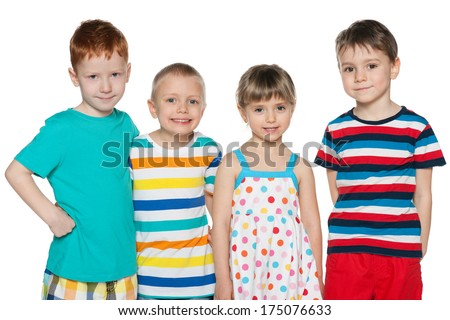 Portrait of a group of four joyful children on the white background - stock photo
