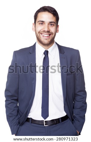 Portrait of a handsome business man, isolated on white background - stock photo