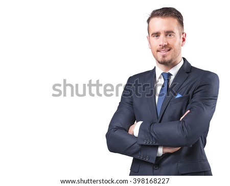 Portrait of a handsome businessman standing with arms crossed, isolated on white background - stock photo