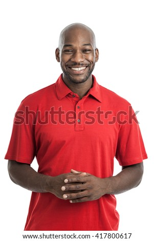Portrait of a handsome late 20s black man isolated on a white background - stock photo
