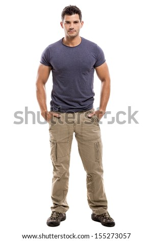 Portrait of a handsome latin man, isolated over a white background - stock photo