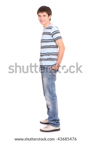 Portrait of a handsome man in sunglasses over white background - stock photo