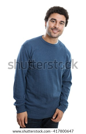 Portrait of a handsome middle eastern man in his 20s looking at camera smiling isolated on white background - stock photo