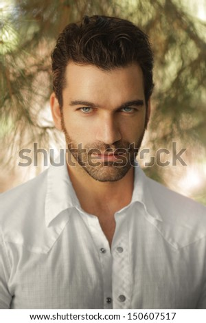 Portrait of a handsome sexy man - stock photo