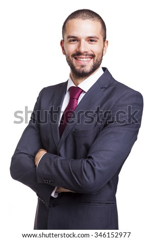 Portrait of a handsome smiling business man, isolated on white background - stock photo
