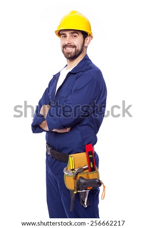 Portrait of a handsome smiling contractor, isolated on white  - stock photo