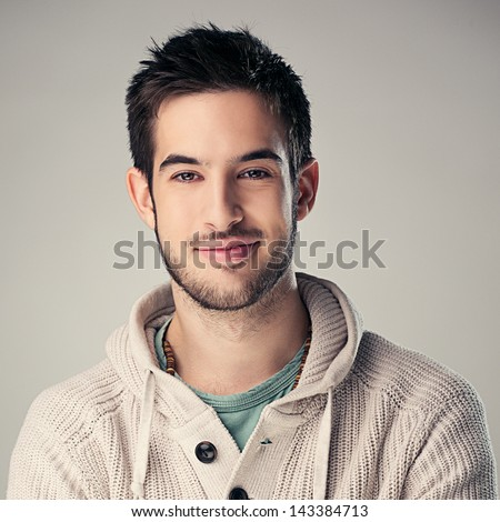 Portrait of a handsome smiling man. - stock photo