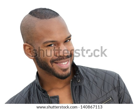 Portrait of a handsome young african american male model smiling - stock photo
