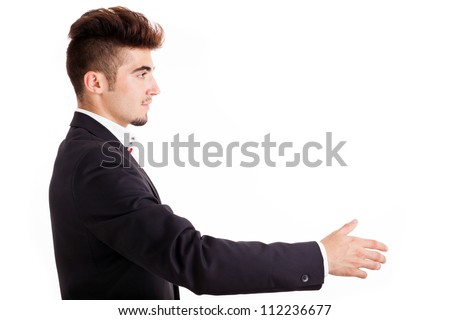 Portrait of a handsome young business ready to greeting, isolated on white background - stock photo