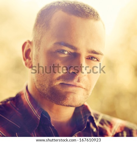 Portrait of a handsome young man - close up - stock photo