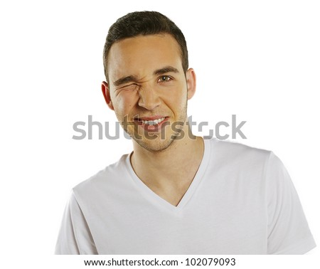 Portrait of a handsome young man, over a isolated background - stock photo