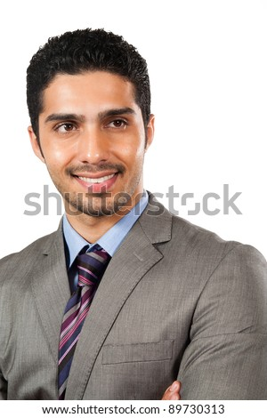 portrait of a happy Arab businessman, biracial businessman isolated on white - stock photo