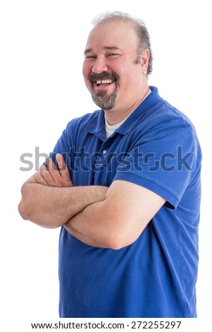 Portrait of a Happy Bearded Adult Man in a Toothy Smile, Looking at the Camera with Closed Arms. Isolated on White. - stock photo
