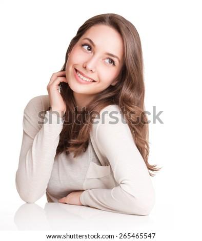 Portrait of a happy beautiful expressive sweet brunette. - stock photo