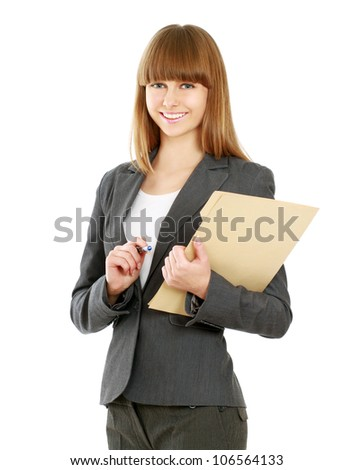 Portrait of a happy business woman holding a folder looking at camera Isolated on white background - stock photo