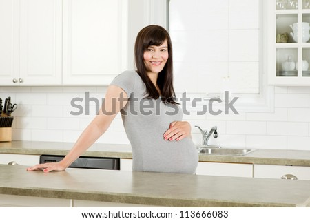 Portrait of a happy expecting pregnant woman in the kitchen - stock photo