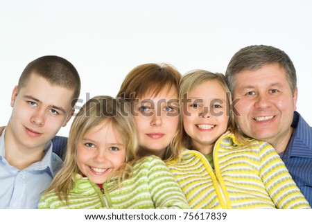 portrait of a happy family of five - stock photo