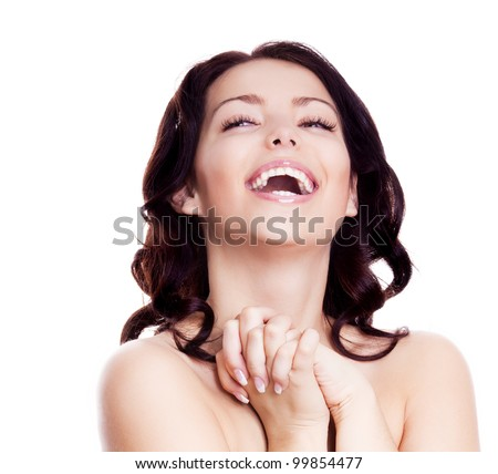 portrait of a happy laughing woman, isolated against white background - stock photo